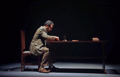 Arturo Beristain actua en Conferencia sobre la lluvia, un texto de Juan Villoro en una produccion de la Compania Nacional de Teatro y direccion de escena de Sandra Felix. Sala Xavier Villaurrutia, marzo 2017