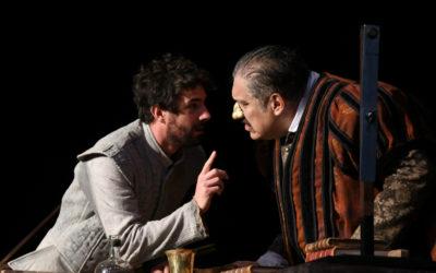 Joaquin Cosio y Jose Maria de Tavira actuan en La desobediencia de Marte, obra de Juan Villoro con direccion de Antonio Castro. Teatro Helenico, agosto 2017