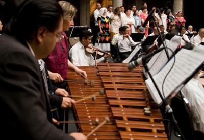 Marimba Nandayapa, invitada de la Orquesta Tipica de la Ciudad de Mexico, en la celebracion por 133 anos de vida. Teatro de la Ciudad, agosto 2017