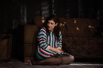 Karina Gidi actua en Pequena voz, dirigida por Alonso Iniguez. Teatro Milan, mayo 2019